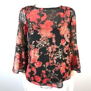 Roz & Ali blouse Asian accent bell sleeves